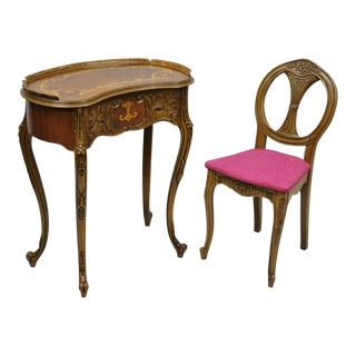 Vintage Mid Century Small French Louis XV Inlaid Kidney Bean Petite Desk & Chair For Sale