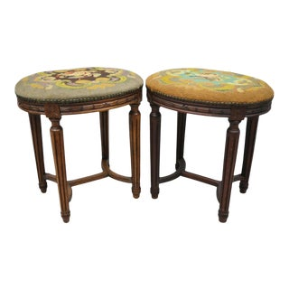 Pair of French Louis XVI Style Carved Walnut & Needlepoint Oval Stools For Sale