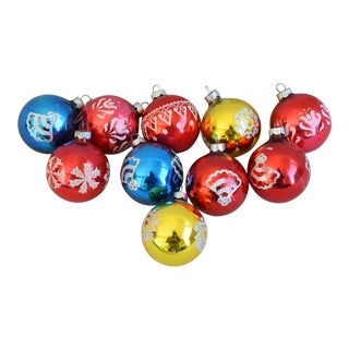 Vintage Colorful Christmas Ornaments withBox - Set of 10 For Sale