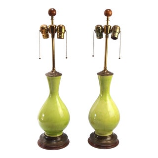 Chartreuse Crackle Glaze Lamps - A Pair