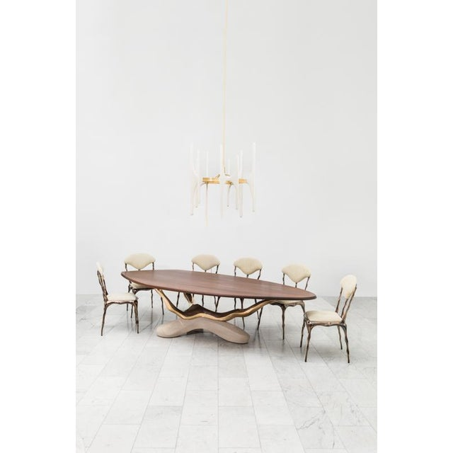 Markus Haase, Bronze, Walnut, and Limestone Dining Table, Usa, 2018 For Sale In New York - Image 6 of 13