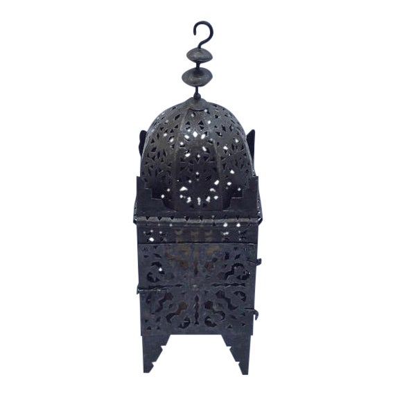 1960s Moroccan Iron Metal Work Candle Lantern For Sale