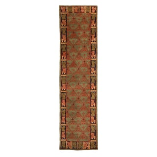 Traditional Cortez Geometric Green and Red Wool Runner - 3′ × 12′ For Sale
