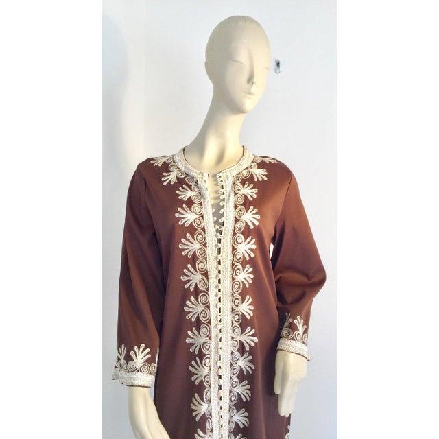 Boho Chic Moroccan Caftan, Maxi Dress Kaftan, 1970 Size Small For Sale - Image 3 of 13