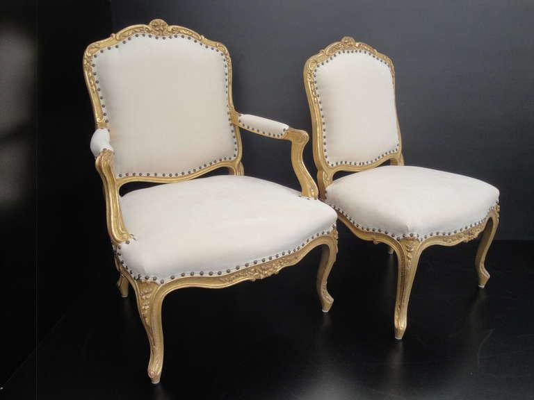 French Louis XV Style Gilt His And Her Chairs. Approximate Measurements Are  As Follows: