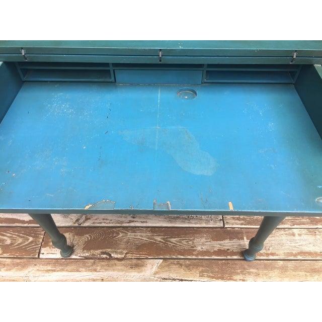 Blue Vintage Secretary Desk For Sale - Image 8 of 13