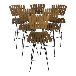 Vintage Mid-Century Arthur Umanoff Bar Stools- Set of 6 For Sale