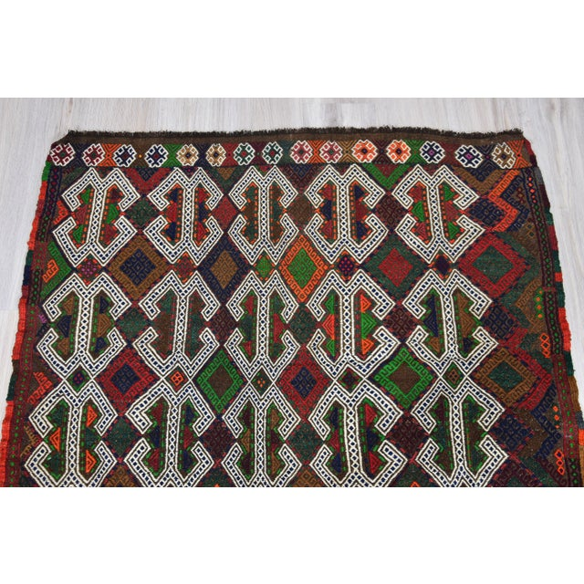 Green Southwestern Wool Kilim - 3′11″ × 4′3″ For Sale - Image 8 of 8