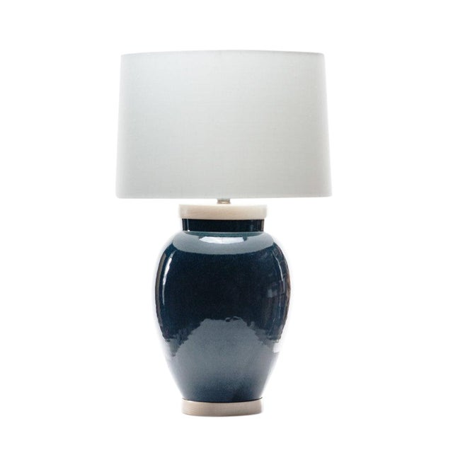 Lawrence & Scott Sybil Porcelain Table Lamp in Ocean Glaze For Sale