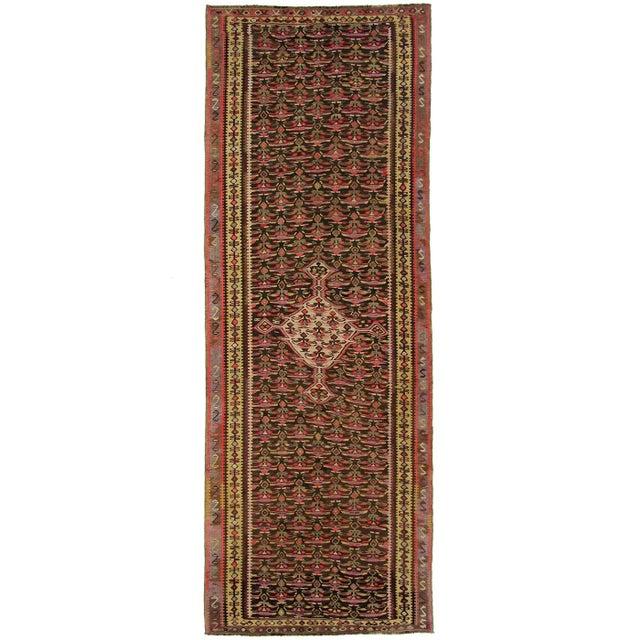 """Antique Senneh Kilim Rug - 3'7"""" 10'4"""" - Image 1 of 5"""
