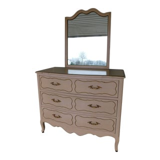 Drexel Parisienne Collection French Louis XV Style Dresser & Mirror For Sale