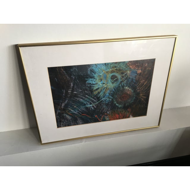 Fern Samuels Arc Gallery Turquoise Flower Painting - Image 4 of 7