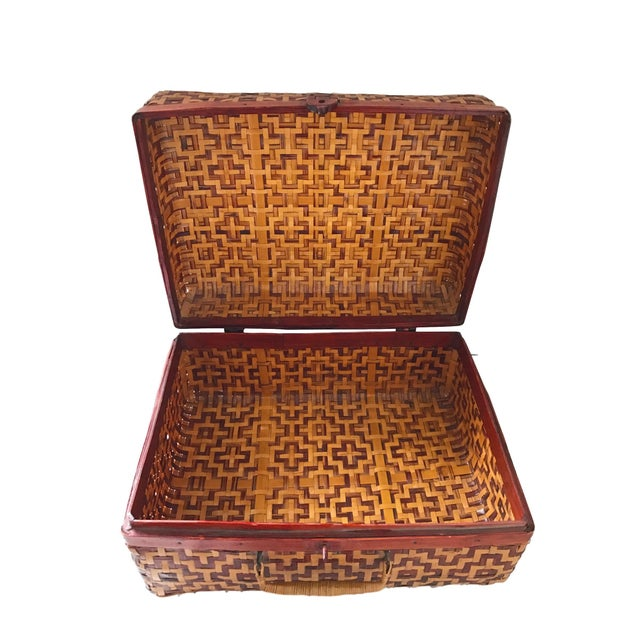 Geometric Weave Basket Trunk - Image 2 of 8