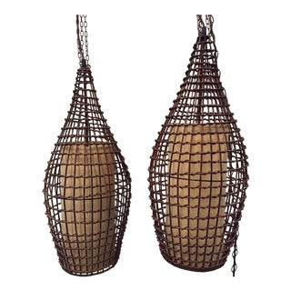 Wicker Basket Pendant Lanterns - a Pair