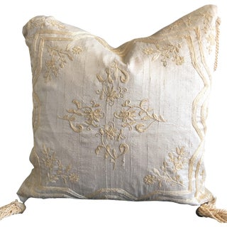 Luxury Raw Silk Embroidered Accent Pillow