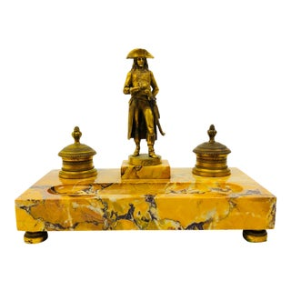 French Inkstand by Raffet in Gold Marble and Bronze With Napolean Statue Dated 1798 For Sale