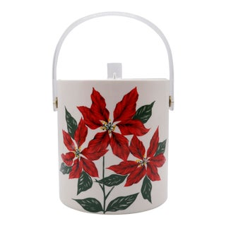 Mid Century Poinsettia Ice Bucket by Cera For Sale