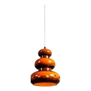 Vintage 1960s German Orange Ceramic Pendant Light For Sale
