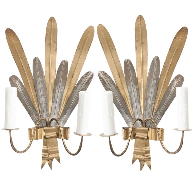 "French Vintage Gilt and Silvered Metal ""Cattail-Leaf"" Sconces - a Pair For Sale"