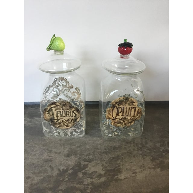 1920s Italian Hand Painted Blown Glass Jars - a Pair For Sale - Image 9 of 9