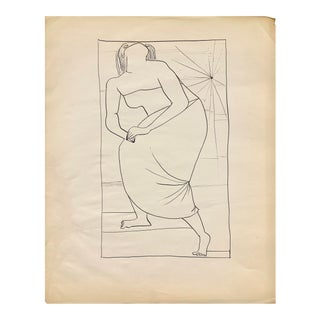 """Donald Stacy """"Star Shining"""" C. 1950s Ink Mid Century Drawing For Sale"""
