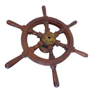 Vintage Marine Brown Wooden Steering Wheel For Sale