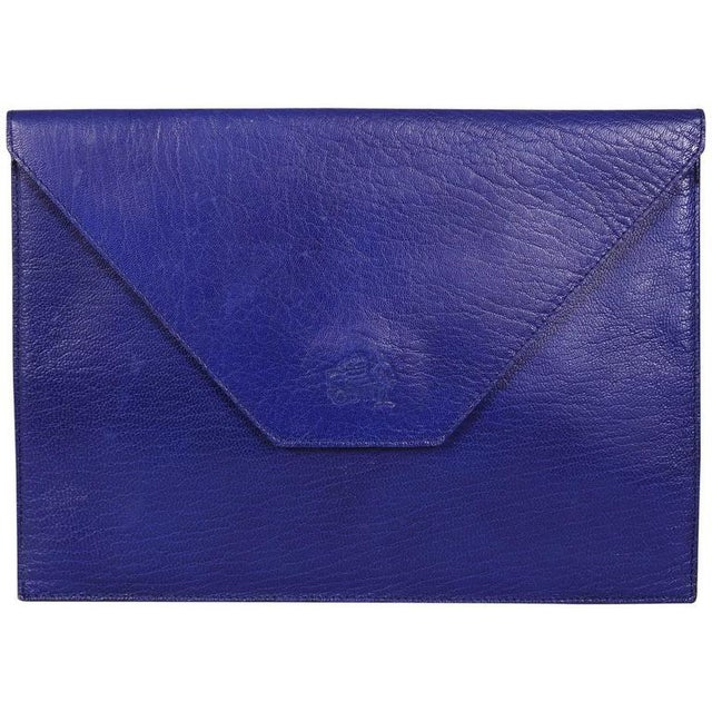 Late 20th Century La Bagagerie, Paris Bright Blue Leather Envelope Clutch For Sale - Image 5 of 5