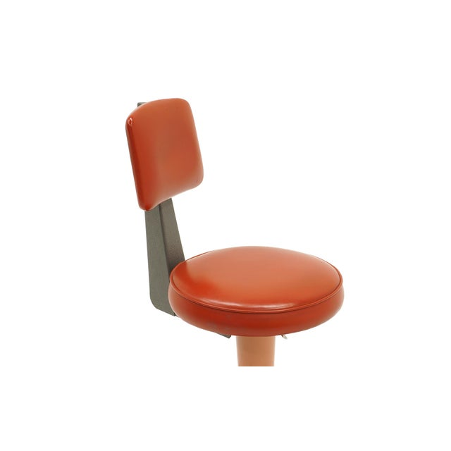 Industrial Design Swivel Chair on Casters by American Optical Corp Red Orange For Sale - Image 4 of 11
