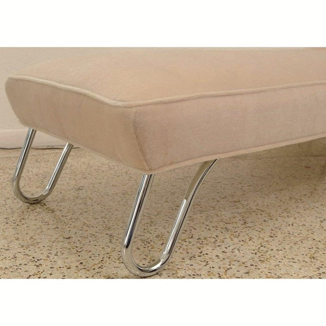 Metal Vintage 1920s Kem Weber Chaise Streamline Moderne Style in Polished Chrome and Camel/Tan Mohair For Sale - Image 7 of 12