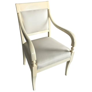 Stunning Neoclassical Ivory Lacquer and Leather Armchair