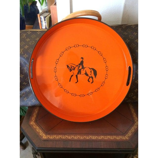 Hermes-Inspired Orange Equestrian Serving Tray For Sale - Image 4 of 10