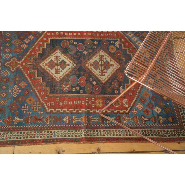 """Antique Afshar Square Rug- 3'6"""" x 4'5"""" - Image 5 of 7"""