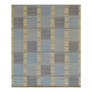 Handwoven Flat-Weave Wool Rug For Sale