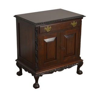 Chippendale Style 1940's Custom Crafted Ball & Claw Nightstand For Sale
