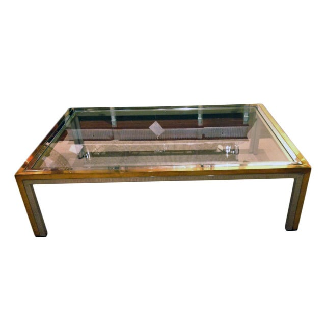 Metal Romeo Rega Mid-Century Modern Brass, Chrome and Glass Coffee Table For Sale - Image 7 of 7