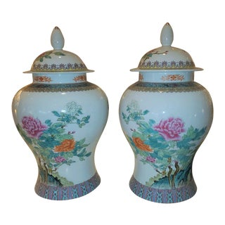 Multi-Color Ginger Jars - a Pair For Sale