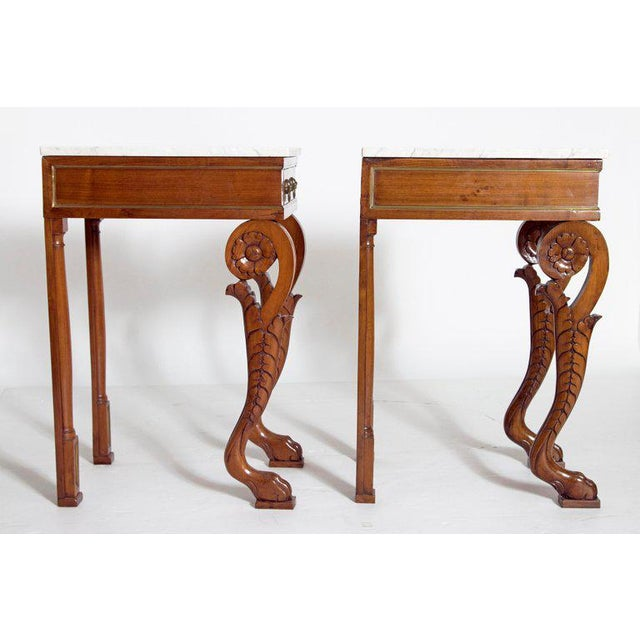 A Pair of Charles X Style Mahogany Tables With White Marble Tops For Sale - Image 10 of 13