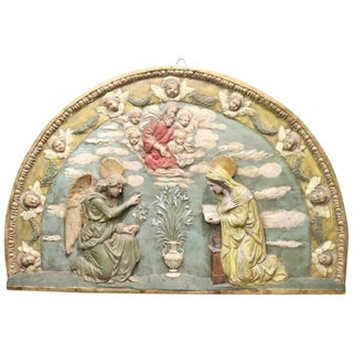 20th Century Artistic Hand Painted Clay Wall Decoration, Mary and the Angel For Sale