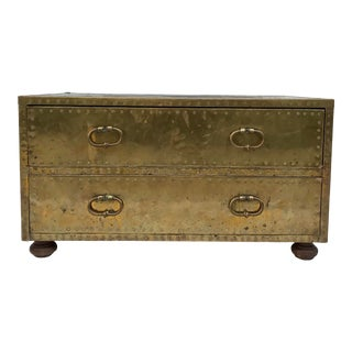1970's Sarreid Brass Trunk Chest of Drawers For Sale