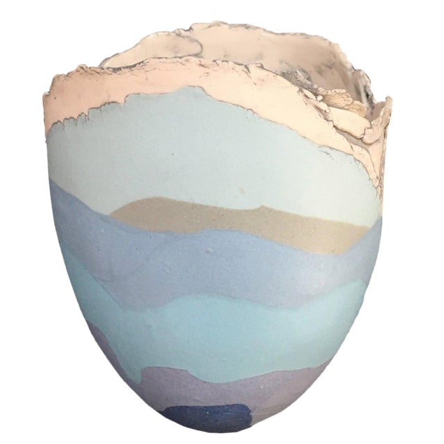 British Studio Pottery Mary White Vase Vessel For Sale