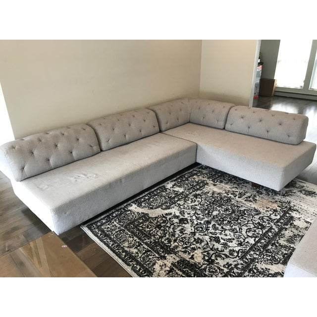 West Elm Tufted Gray Sectional - Image 3 of 5