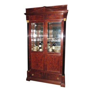 Italian Neoclassical Style Mahogany Lighted China Cabinet For Sale