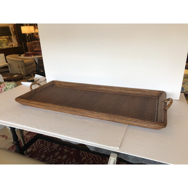 Wood Wicker Rattan and Seagrass Handled Gallery Tray For Sale - Image 11 of 11
