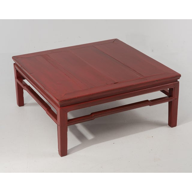 Asian Early 20th Century Antique Chinese Red Coffee Cocktail Table For Sale - Image 3 of 11