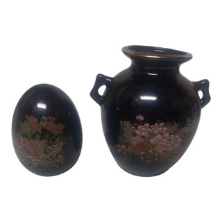 Asian Floral Vase & Egg Figurine - A Pair