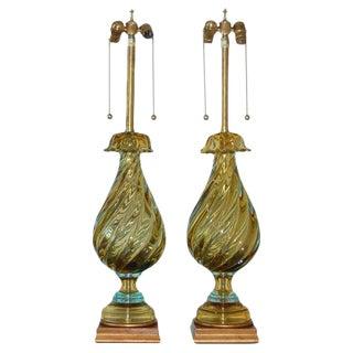 Marbro Murano Glass Lamps Gold & Aqua For Sale