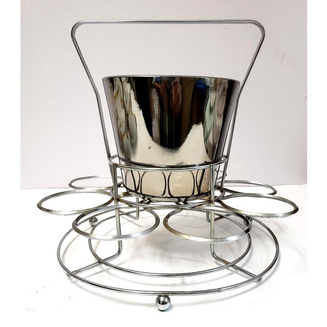 Dorothy Thrope Mirrored Glases& Ice Bucket Set W/ Stand - Set for 8 For Sale - Image 9 of 10