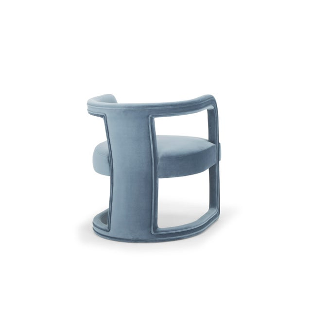 Contemporary Rory Side Chair in Dust Blue For Sale - Image 3 of 6