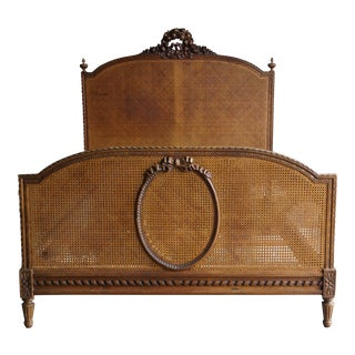 Antique French Cane Full Bed For Sale