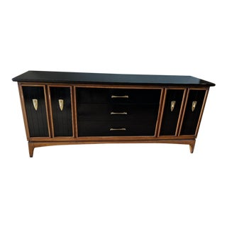 "Kent Coffey ""Wharton"" High Gloss Black and Natural Credenza For Sale"